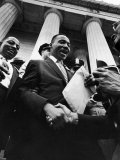 Reverend Martin Luther King Jr. Shaking Hands with Crowd at Lincoln Memorial Premium Photographic Print by Paul Schutzer