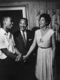 Student Ernest Green Shaking Hands with NAACP Head Daisy Bates and Rev. Martin Luther King Premium Photographic Print by Grey Villet