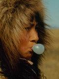 Native Alaskan Chewing Bubble Gum Premium Photographic Print by Ralph Crane