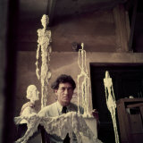 Portrait of Alberto Giacometti in His Studio Premium Photographic Print by Gordon Parks