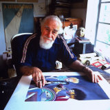 Caricaturist Al Hirschfield Working on June 8 Time Magazine Cover Art in His Studio Premium Photographic Print by Ted Thai