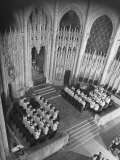 View of the Choir Singing During a Service in the Gothic Sanctuary of Riverside Church Premium Photographic Print by Margaret Bourke-White