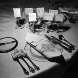 Forks, Knives, Spoons, Wine Glasses and Invitations, Table Settings for Gourmet Dinner Party Photographic Print by Peter Stackpole
