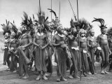 "Wahgi Natives of the Central Highlands Wearing Elaborate Decorations During ""Sing Sing"" Celebration Premium Photographic Print by Eliot Elisofon"