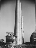 Workmen Building Huge Chimneys at World's Biggest Coal-Fueled Power Plant Premium Photographic Print by Margaret Bourke-White