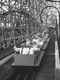 Local Politicians Riding the Roller Coaster at the Carnival Premium Photographic Print by Ed Clark