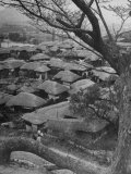 Looking Down at a Korean Village, the Houses All Have Thatched Roofs Premium Photographic Print by John Florea