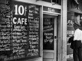 Sign Outside Luncheonette on Skid Row Photographic Print by Alfred Eisenstaedt