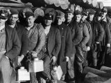 Anthracite Coal Miners Coming Out of Powderly Mine Reproduction photographique sur papier de qualité par Margaret Bourke-White