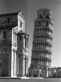 The Famed Leaning Tower of Pisa Standing Beside the Baptistry of the Cathedral Premium Photographic Print by Margaret Bourke-White
