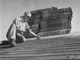 Carpenter Putting Roof on New House That Is Part of a Housing Project Photographic Print by George Skadding