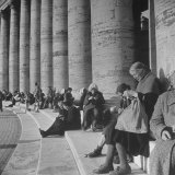Old Italian Women Knitting While They Socialize in the Colonade of St. Peter's Square, Vatican City Photographic Print by Margaret Bourke-White