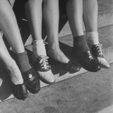 Teenagers Showing Various Fads Among the Bobby Sox Set Including Wearing Pennies in their Shoes Photographic Print by Ed Clark