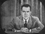 "GOP VP Candidate Richard M. Nixon Giving His ""Checkers"" Speech on TV Premium Photographic Print by George Silk"