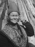 Elderly Lapp Woman Premium Photographic Print by Eliot Elisofon