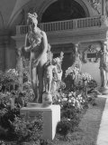 The Statue of Aphrodite and Eros in Louvre Museum During a Flower Show Premium Photographic Print by Dmitri Kessel