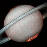 The Planet Saturn, North and South Poles Ablaze, Taken by the Hubble Space Telescope Photographic Print