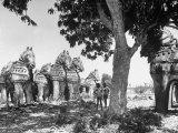 Mythological Statuary Lining the Roads of Countryside Near Sri Ramana Maharshi's Ashram Photographic Print by Eliot Elisofon