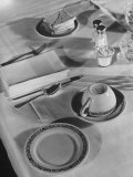 Place Setting of Supreme Court Justice Owen J. Roberts in the Dining Room of the Supreme Court Bldg Premium Photographic Print by Margaret Bourke-White