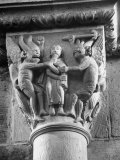Religious Carvings on Column Capital at Abbey Church Premium Photographic Print by Nat Farbman