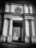 Cement Archway Featuring a Clock over the Entrance to the Grounds of the Greek Orthodox Church Premium Photographic Print by Margaret Bourke-White