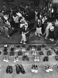 Shoeless Teenage Couples Dancing in HS Gym During a Sock Hop Premium Photographic Print by Alfred Eisenstaedt