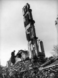 German Civilian Couple Threading Through the Destruction from the City's Bombing by Allied Forces Premium Photographic Print by Margaret Bourke-White