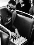 Blind Singer Ray Charles Playing Chess on a Board with Special Niches Premium Photographic Print by Bill Ray