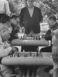 Men Playing Chess in Central Park Premium Photographic Print by Leonard Mccombe