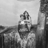 Honeymoon Couple, Colman Laposa Jr. and Wife, Posing in Fake Barrel Photographic Print by Yale Joel
