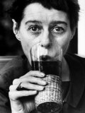 Writer Carson Mccullers Having a Drink Premium Photographic Print by Leonard Mccombe
