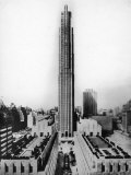 Main Building of Rockefeller Center and Surrounding Area in New York City Premium Photographic Print