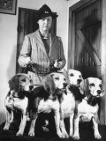 Mrs. William Dupont Jr. Holding Reins of Four Beagles That Belonged to Her Late Husband Premium Photographic Print by Hansel Mieth