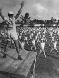 Army Recruits Doing Calisthenics Premium Photographic Print by Myron Davis