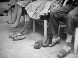 Stamping their Feet, Children from the Avondale Camp Wait to Be Fitted with Free Shoes Premium Photographic Print by Ed Clark