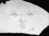 Pen and Ink Drawing of Face, Doodled on Napkin in Restuarant, by Jean Cocteau Premium Photographic Print