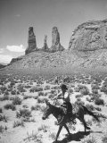 Native American Indian Boy Running His Horse Through Desert Premium Photographic Print by Loomis Dean