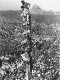 People Watching Mohandas K. Gandhi's Funeral from Tower Premium Photographic Print by Margaret Bourke-White