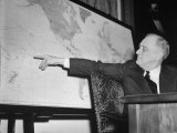 President Franklin D. Roosevelt, Pointing to a Map While Giving His Speech During Entry to WWII Premium Photographic Print