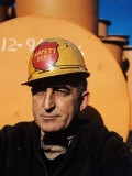 Worker Wearing Safety Helmet Outside at Sun Shipbuilding and Dry Dock Co. Shipyards Premium Photographic Print by Dmitri Kessel