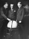 J. Edgar Hoover Standing Behind Globe with Col. James Churchill and Rear Adm. Walter Anderson Premium Photographic Print