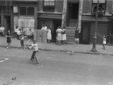 People on the Street in Harlem Premium Photographic Print