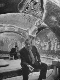 Professor Thomas Whittemore, Resting in the Chora Church While Assistant Cleans Mosaics Premium Photographic Print by Dmitri Kessel