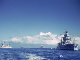 Battleship and Other Ships Taking Part in Us Navy Manuevers Off Hawaii Premium Photographic Print by Carl Mydans