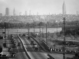 Panoramic of New York City Skyline Seen from New Jersey Premium Photographic Print by Andreas Feininger