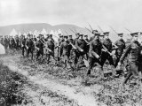 Canadian Troops Marching During Drills at Valcartier Camp after the Outbreak of World War I Premium Photographic Print