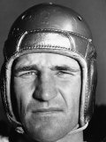 Football Player Sam Baugh of the Washington Redskins, Wearing His Helmet Premium Photographic Print by Carl Mydans
