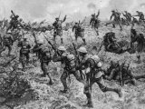 British Troops Rushing German Positions During One of the Battles for the Somme During World War I Premium Photographic Print