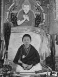 Nine-Year-Old Panchen Lama, at Kumbum Monastery, Wrapped in Shawl-Like Monk's Robe, Very Serious Premium Photographic Print