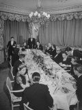 Dinner Party Hosted by Egyptian Prince Abdel Moneim at Palace Hotel in Fashionable Winter Resort Premium Photographic Print by Alfred Eisenstaedt